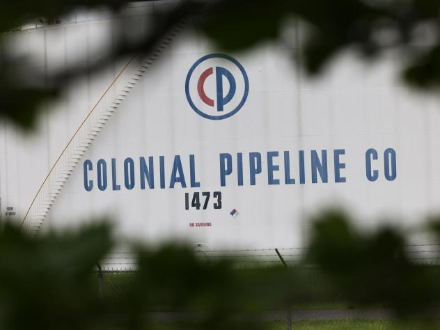 A fuel tank is seen at Colonial Pipeline's Linden Junction tank farm in Woodbridge, N.J., on May 10.