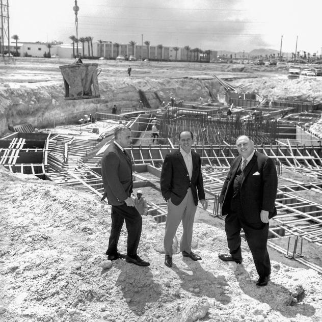 Jerry Wald, Nate Jacobson and Jay Sarno at the future site of Caesars Palace in Las Vegas, circa April 9, 1965.