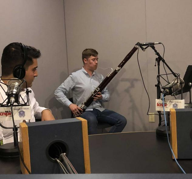 Jordan Farber performing in the Nevada Public Radio Studios.