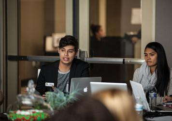 Luis Montanez at Nevada State College Student Government meeting by Christopher Smith