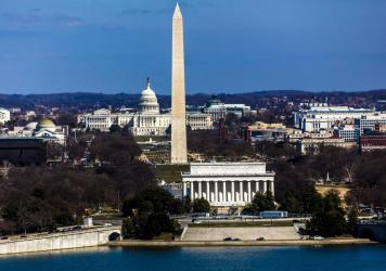 An aerial view of Washington, D.C., shows the Lincoln Memorial and Washington Monument as well as the U.S. Capitol.