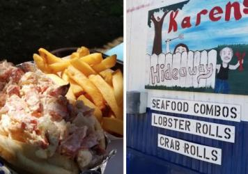 """""""My wife and I stumbled on this place while cruising coastal Maine in 2019 and we got the biggest and tastiest lobster rolls I've ever eaten,"""" said Karen's Hideaway patron JS O'Connor."""