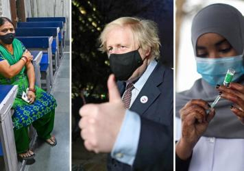 From left: A New Delhi woman waits in an observation room after getting the Covishield vaccine (the name used for the AstraZeneca vaccine in India) on May 26. U.K. Prime Minister Boris Johnson leaves a vaccination center after his first AstraZeneca dose