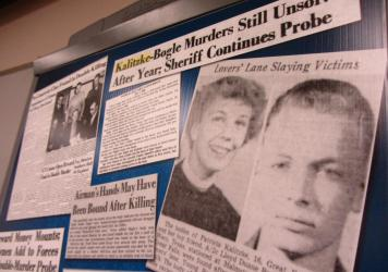 Clippings from the <em>Great Falls Tribune</em> were part of the Cascade County Sheriff's Office investigative file into the 1956 murders of Patricia Kalitzke and Lloyd Duane Bogle.