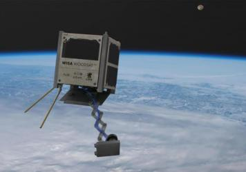 WISA Woodsat, seen in an artist's rendering, is billed as the world's first wooden satellite. It's set to be launched from New Zealand before the end of the year.