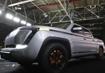 Lordstown Motors shows off a model of its electric pickup truck, Endurance, in Lordstown, Ohio, on June 25, 2020. The auto maker is under pressure after saying it was running out of cash, raising questions about the future of the crop of startups that ha