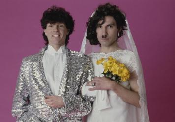 From left, Russell and Ron Mael, who record as Sparks, photographed in 1982 during the cover shoot for their album <em>Angst In My Pants</em>.