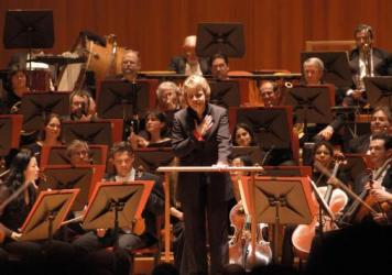 Conductor Marin Alsop, at a performance with the Baltimore Symphony Orchestra in 2006, just before she became the BSO's music director. She's leaving the organization after 14 years.