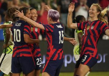 Most of the winning U.S. team from the 2019 Women's World Cup will reunite for the Tokyo Olympics, including Carli Lloyd, Christen Press, Megan Rapinoe and Samantha Mewis. They seen here last week in Austin, Tex., where they beat Nigeria 2-0.