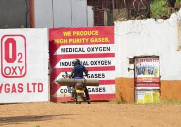 An oxygen cylinder plant in Kampala, Uganda. The Ugandan army has started producing oxygen for state-run hospitals to ease the burden existing plants as COVID-19 cases — and demand for oxygen for severe illness — keep rising.