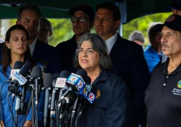 Miami-Dade County Mayor Daniella Levine Cava speaks during a press conference after a building partially collapsed in Surfside, Fla., on Thursday.