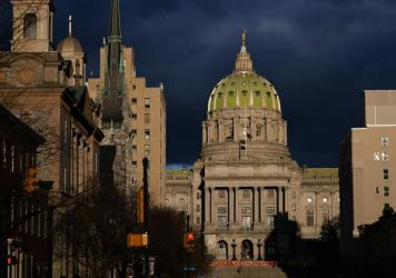 Pennsylvania GOP lawmakers want to amend the state's constitution to include a voter ID requirement. The Pennsylvania Capitol is seen on Jan. 17.