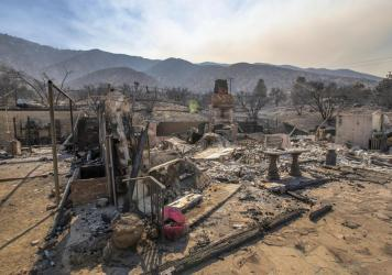 The remains of a burned home from the Bobcat Fire in Juniper Hills, Calif., on Sept. 20, 2020.