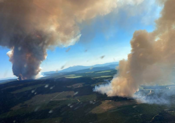 The British Columbia Wildfire Service is responding to multiple fires in the province this week. Two wildfires pictured here, the Long Loch wildfire and the Derickson Lake wildfire, are in close proximity and estimated to be 740 acres combined in size.