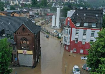 An aerial view Wednesday shows the flooded center of the city of Hagen, western Germany, after heavy rain in parts of the country caused widespread flooding.