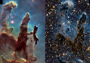 Images of the Eagle Nebula show the Hubble Space Telescope's ability to capture pictures in both visible (left) and infrared (right) light. NASA is celebrating the successful restart of the telescope's payload computer, opening the door to more observati