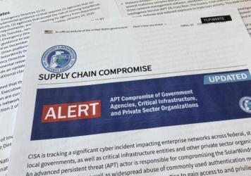 An alert on a suspected attack by state-backed Chinese hackers from the Department of Homeland Security's Cybersecurity and Infrastructure Security Agency in April.