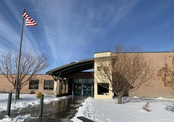 Rimrock Junior/Senior High School in Bruneau, Idaho. Despite recent outbreaks that forced temporary closures, the Bruneau-Grand View school board in Idaho voted down a mask mandate in November.