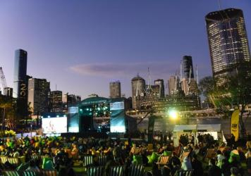A general view is seen of the stage area during the announcement of the host city for the 2032 Olympic Games in Brisbane, Australia. Brisbane won its bid to host the Games. It would be Australia's third time as host nation to the Olympics.