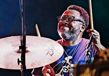 """Jazz artist Nate Smith performing in the Netherlands. Smith's song """"Square Wheel"""" feat. Kokayi and Michael Mayo was one of <em>Jazz Night</em>'s favorites of the first half of the year."""