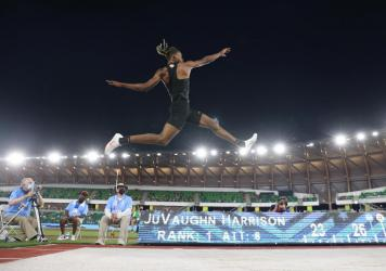 JuVaughn Harrison competes in the men's long jump final at the Olympic trials in June. He'll compete in both the long jump and high jump in the Olympics.