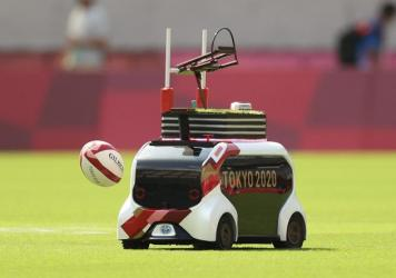 A Field Support Robot was used to retrieve rugby balls on day three of the Tokyo 2020 Olympic Games at Tokyo Stadium. Over the weekend, the FSR will help during track and field events.