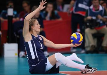 Lora Webster of The United States plays a shot during the Women's Sitting Volleyball final Gold Medal match at the London 2012 Paralympic Games. She'll be competing in Tokyo this year.