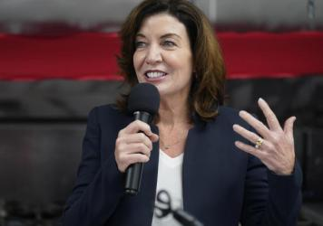 New York Lt. Gov. Kathy Hochul speaks at a ribbon-cutting ceremony in May in the Bronx borough of New York.