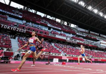 Sydney McLaughlin of the United States competes in the women's 400-meter hurdles final during the Olympic Games on Aug. 4 in Tokyo.