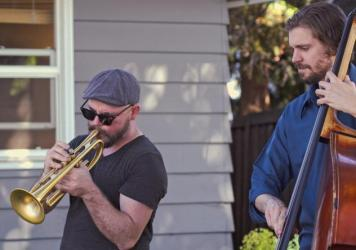 Trumpeter Charlie Porter and bassist John Lakey perform in May 2021.