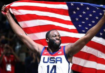 Draymond Green of Team USA celebrates following the U.S. victory over France in the Men's Basketball gold medal game on Saturday at the Tokyo 2020 Olympic Games.