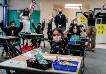 Kindergartner Allyson Zavala joined with other students and school superintendent Austin Buetner for a class selfie in April inside teacher Alicia Pizzi's classroom at Maurice Sendak Elementary School in North Hollywood, Calif.