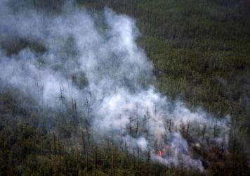 This aerial photo taken from an airplane on July 27 shows smoke rising from a forest fire outside the village of Berdigestyakh in Russia's Sakha Republic in northeastern Siberia.