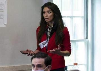One America News Network reporter Chanel Rion asks a question at a briefing for reporters at the White House on May 22, 2020.