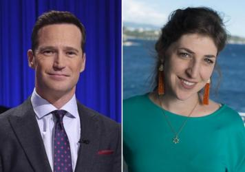 Mike Richards, left, and Mayim Bialik will co-host <em>Jeopardy!</em>