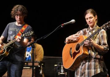 Steve Tannen and Deb Talan of The Weepies, seen performing on <em>Mountain Stage </em>in 2010.