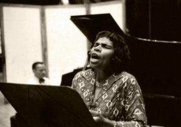 Marian Anderson recording at Webster Hall with her accompanist Franz Rupp in August 1961.