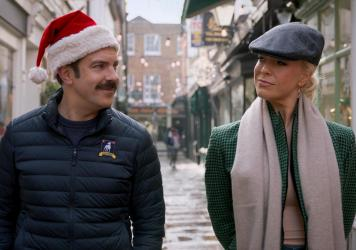Ted (Jason Sudeikis) and Rebecca (Hannah Waddingham) spend some time together on the Christmas episode of <em>Ted Lasso</em>.