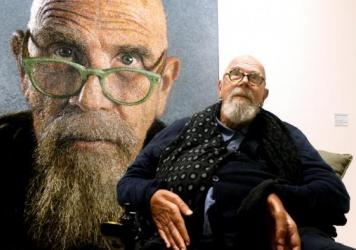 Artist Chuck Close at a 2019 exhibition of his work in Ravenna, Italy.