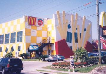 The World's Largest Entertainment McDonald's in Orlando, Florida. Once known for its bizarre exterior, the restaurant has since undergone renovations. It is a stop on Max Krieger's tour of strange and unusual McDonald's in Florida.