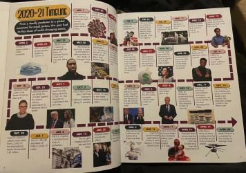Students say they triple-checked the 2020-2021 timeline and got an ok on the spread before it was published in the Bigelow High School year book.