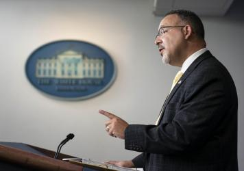 Miguel Cardona, U.S. secretary of education, speaking at a White House press briefing.