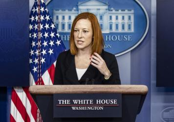 """""""This is an active threat,"""" White House press secretary Jen Psaki, pictured here in March, told reporters as the hack started to spread. """"Everyone running these servers ... needs to act now to patch them."""""""