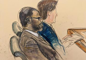 In courtroom artist's sketch made from a video screen monitor, defendant R. Kelly, left, listens during the opening day of his New York federal trial in Brooklyn on Aug. 18.