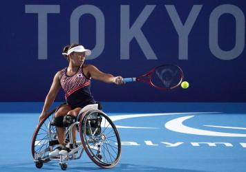 Yui Kamiji of Team Japan in action during a training session ahead of the Tokyo 2020 Paralympic Games at Ariake Tennis Park on August 22, 2021 in Tokyo, Japan.