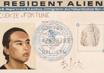 Hung Liu, <em>Resident Alien,</em> 1988. Oil on canvas. Collection of the San Jose Museum of Art, gift of the Lipman Family Foundation.