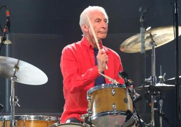 Charlie Watts performs at MetLife Stadium with The Rolling Stones in 2019.