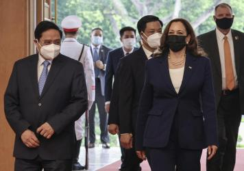 U.S. Vice President Kamala Harris meets Vietnam's Prime Minister Pham Minh Chinh at the Office of Government in Hanoi, Vietnam, Wednesday, Aug. 25, 2021.