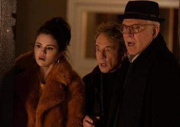 Neighbors Mabel (Selena Gomez), Oliver (Martin Short) and Charles (Steve Martin) become podcasters in <em>Only Murders in the Building</em>.