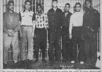 """A nearly 70-year-old newspaper clipping about infamous """"Martinsville Seven"""" rape case shows the seven Black men convicted of raping a white woman. They were executed in 1951 after exhausting their appeals."""